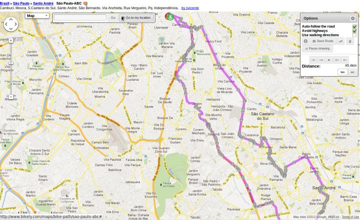Giro pelo ABC à tarde - 16/9/12 - 45,4km