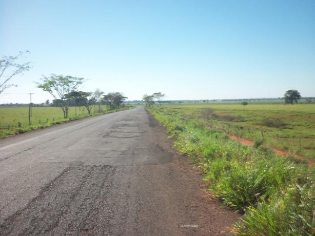 Paisagem entre Anaurilândia e Bataguassu (MS-395), já próximo à Vila Quebracho. Sol, déu azul e fazendas de gado.