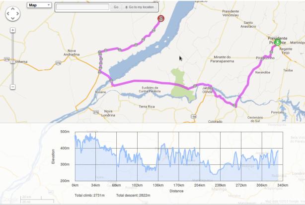 Traçado feito pelo Bikely.com pelos 3 estados - SP, PR, MS, por 333km.
