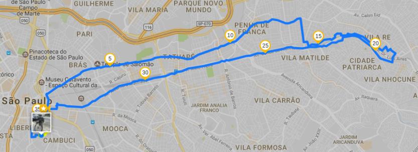 Percurso de 36k aprox. traçado pelo Runtastic.